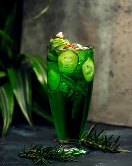 Detox with tarragon and sliced cucumber