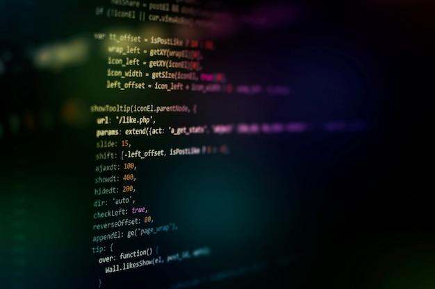 開発者プログラミングコード。抽象コンピュータスクリプトコード。ソフトウェア開発者のプログラミングコード画面。ソフトウェアプログラミングの作業時間。