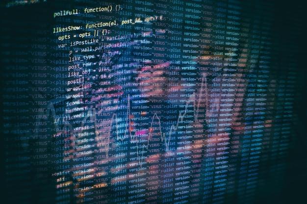 Developer programming code. abstract computer script code. programming code screen of software developer. software programming work time.