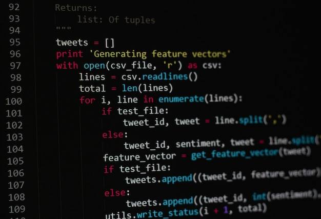Developer python, java script, html, css source code on monitor screen. writing script of software developer. program coding. programmer editing code background. technology background close up shot.