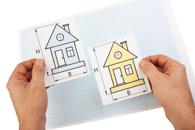 Development drawings in hand  isolated  on white background