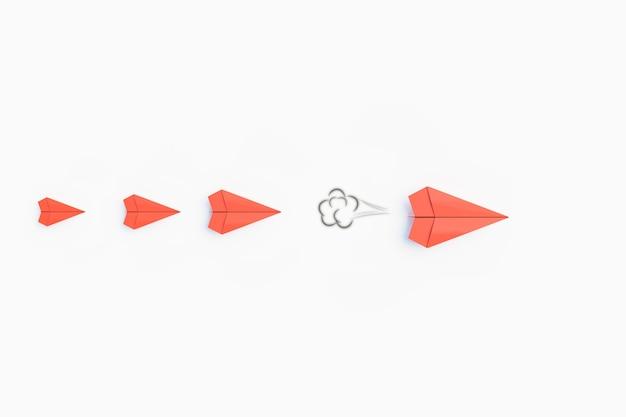 Разработка маленькой бумажной ракеты до большого размера, концепция успеха в бизнесе, 3d визуализация