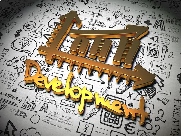手書き文字を背景に金属製の開発スローガン