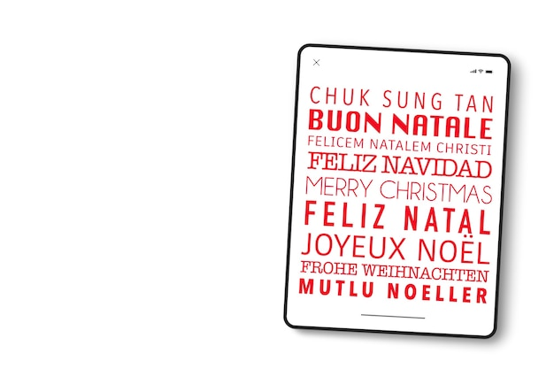 Device screen in tablet format with merry christmas written in many different languages.