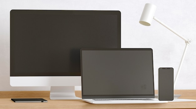 Devices and lamp on desk composition