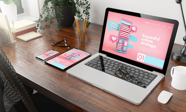 Devices online marketing agency on wooden desktop 3d rendering