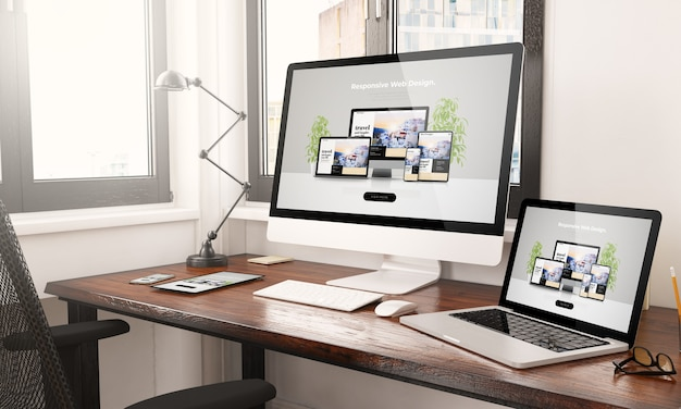 Devices with responsive web design desktop 3d rendering