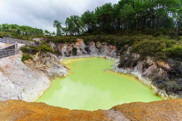 Devil's bath crater pool at wai-o-tapu geothermal area , rotorua , north island of new zealand