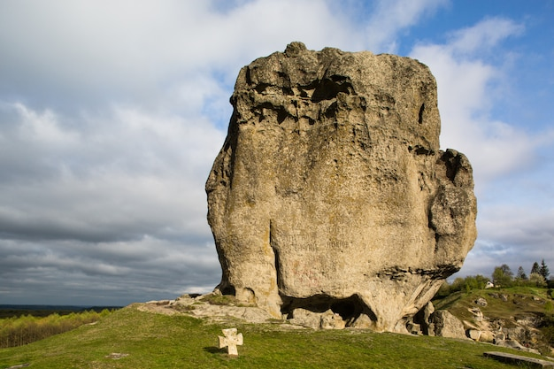 Devil's rock in pidkamin, lviv region, west ukraine (summer landscape)