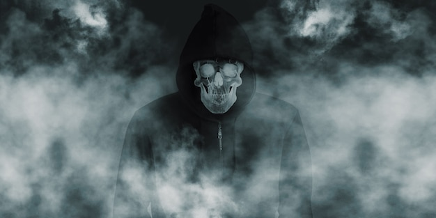 A devil skull in a black robe with a hood and a smoke skull smiling under a black shirt
