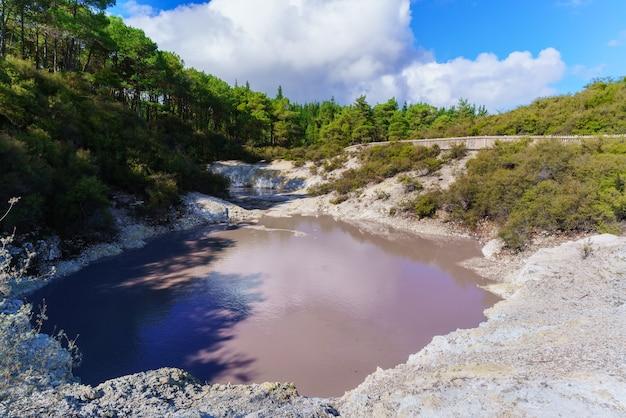 ニュージーランド北島ロトルアのワイオタプ地熱地帯にあるデビルズインクポットクレータープール