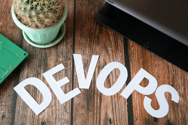 Devops concept for software engineering culture and practice of software development and operation, model of person with devops card
