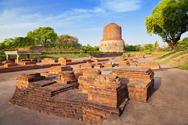 Dhamekh stupa ruins in varanasi