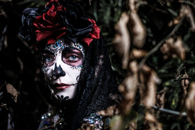 Dia de los muertos portrait of a young woman