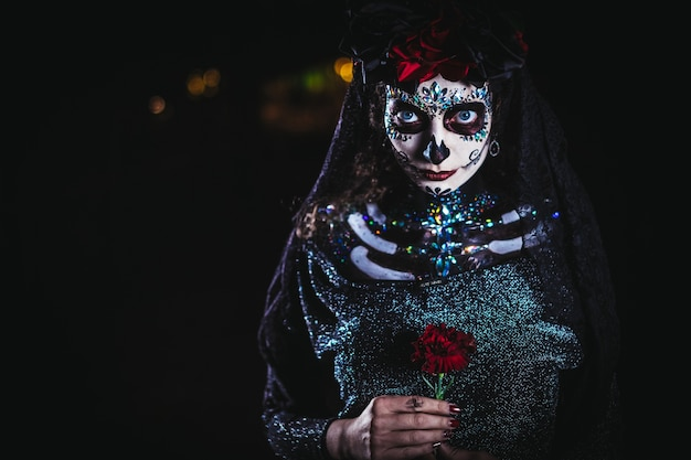 Dia de los muertos portrait of a young woman