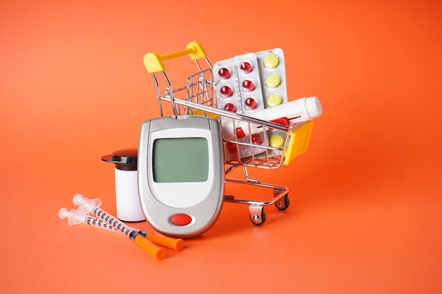 Diabetes accessories and syringes in shopping cart