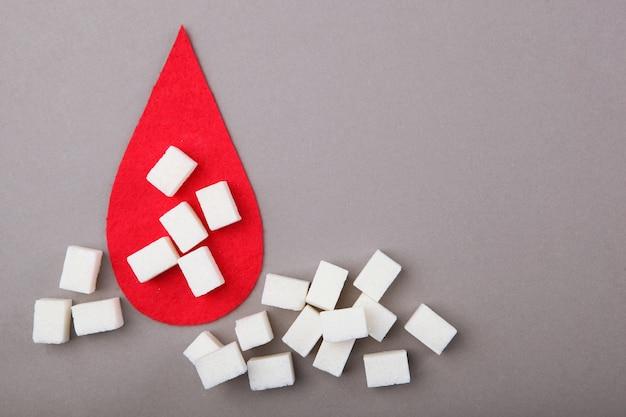 Сахарный диабет концепция минимализм вид сверху место для текста