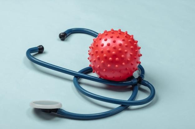 코로나 바이러스, 폐렴 진단. 파란색에 바이러스 균주가있는 청진기