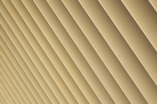 ベージュまたは金色の3dストライプの斜めビュー。パターン、斜めパターンのクローズアップのようなルーブルシャッター。