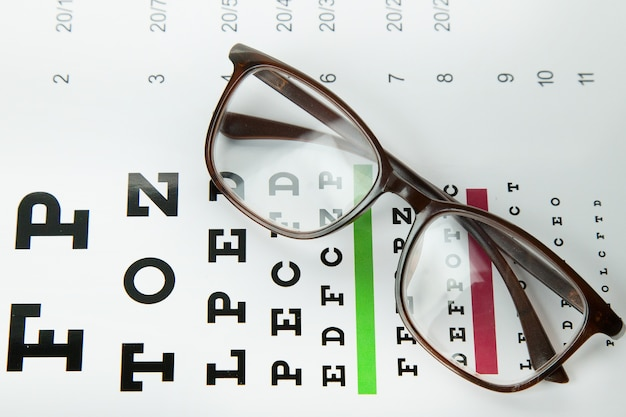 The diagram of checking eyes  glasses optometry medical background.