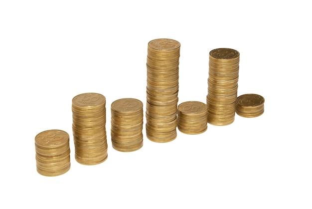 白で隔離される金貨の図。