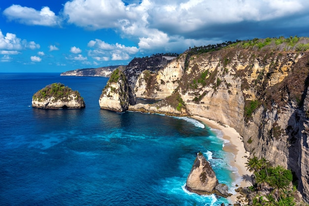 Diamond beach in nusa penida island, bali in indonesia