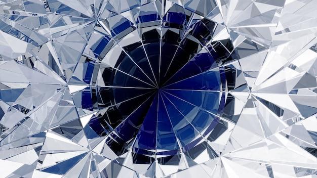 分散を伴うダイヤモンドクローズアップ屈折。 3dイラスト。
