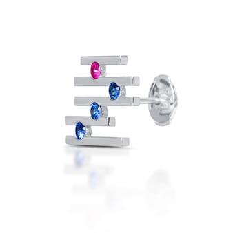 白で隔離のダイヤモンドのイヤリング
