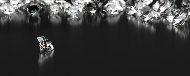 Diamond group placed on black background with soft focus 3d rendering