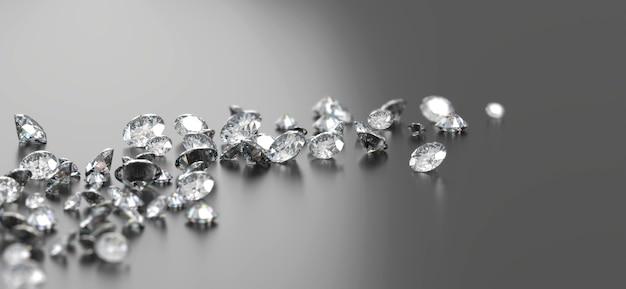 ソフトフォーカス3dレンダリングで黒の背景に配置されたダイヤモンドグループ
