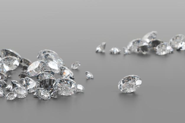 ソフトフォーカスの3dレンダリングで光沢のある背景に配置されたダイヤモンドグループ