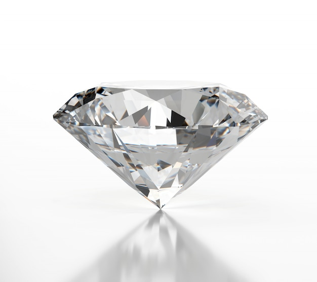 Diamond isolated on white background with soft reflection,