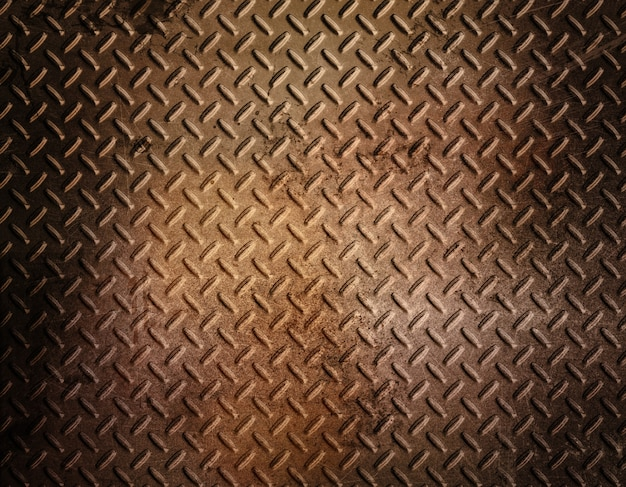 Diamond plate metal background with grunge rusty effect