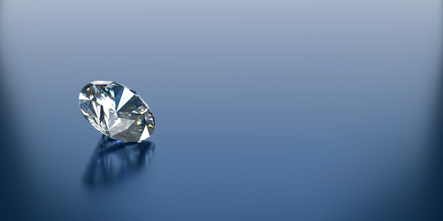 Diamond on reflected background and copy space, 3d illustration
