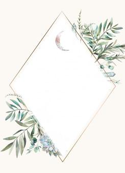 Ромбовидная цветочная рамка. ручной обращается дизайн акварель карты с зеленью, листьями папоротника, сочные, кристаллы и луна. приветствие или свадебный шаблон.