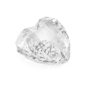 Diamond in shape of heart isolated