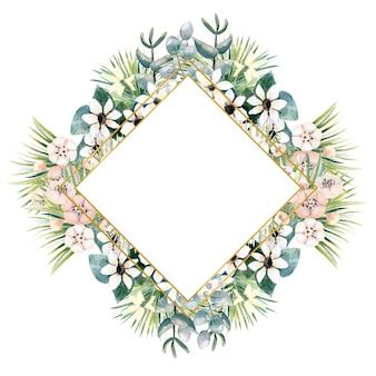 액 티니 디아, 부 바르 디아, 열대 및 야자 잎의 작은 꽃이있는 다이아몬드 모양의 골드 프레임