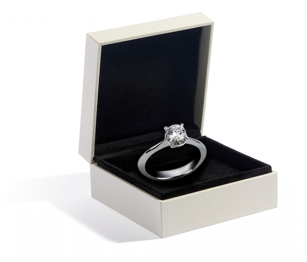 Diamond and white gold or platinum ring in a box