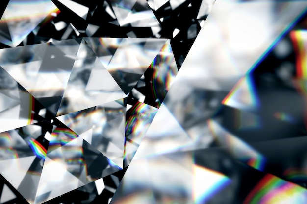 Diamond with caustic close up texture, 3d illustration.