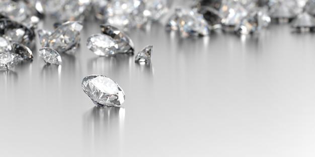 Алмаз с группой алмазов, 3d иллюстрации