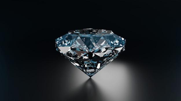 다이아몬드 보석 반사 배경 3d 렌더링에 배치 어두운 장면 3d 렌더링 다이아몬드