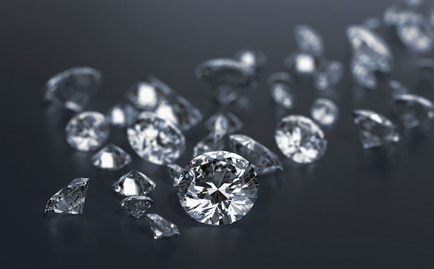 Diamonds group placed on black background