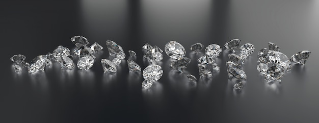 Diamonds group placed on dark background