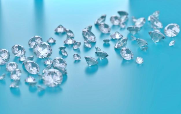 Группа диамантов помещенная на сини, иллюстрации 3d.