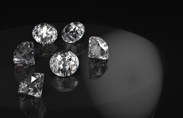 Diamonds group with reflection on black background.