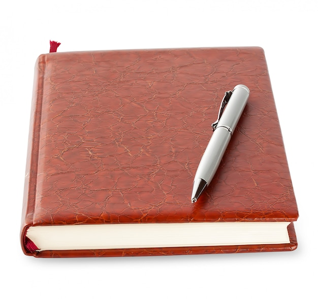 Diary in brown leather cover with silver pen