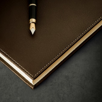 Diary with fountain pen on grunge background