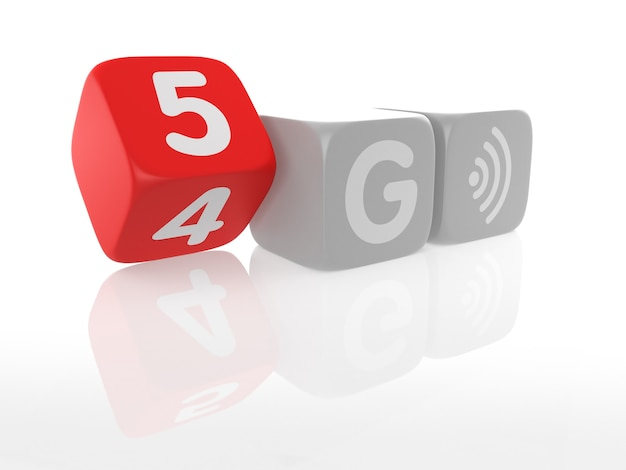 Dice of the change from 4g to 5g technology. 3d rendering