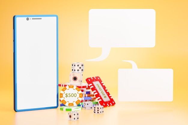 Dice and gambling chips with a phone