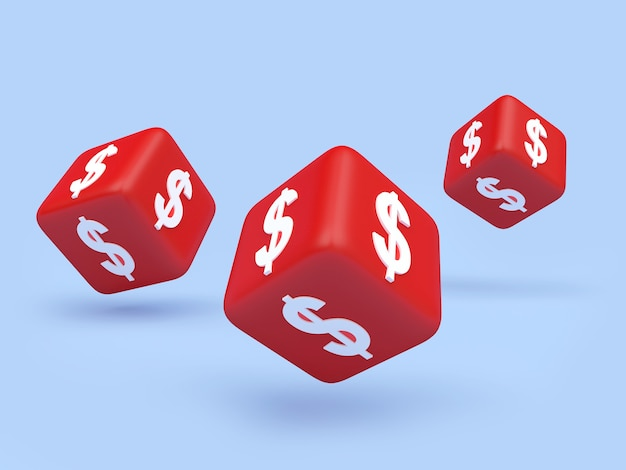 Dice with a dollar sign 3d